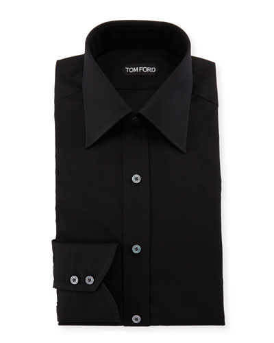 Classic Barrel Cuff Dress Shirt  Black