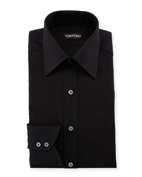 Classic Barrel Cuff Dress Shirt, Black