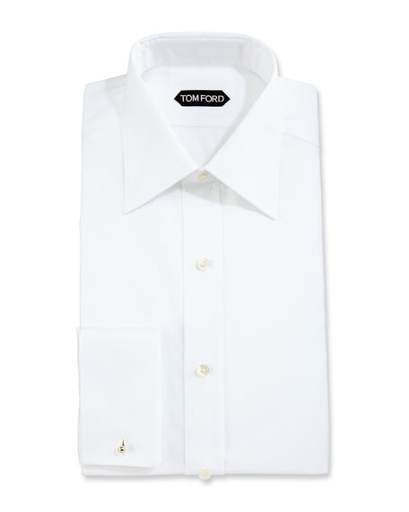Image 1 of 1: Slim-Fit Solid Dress Shirt, White