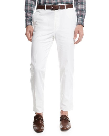Brioni Stretch-Cotton Flat-Front Pants, White