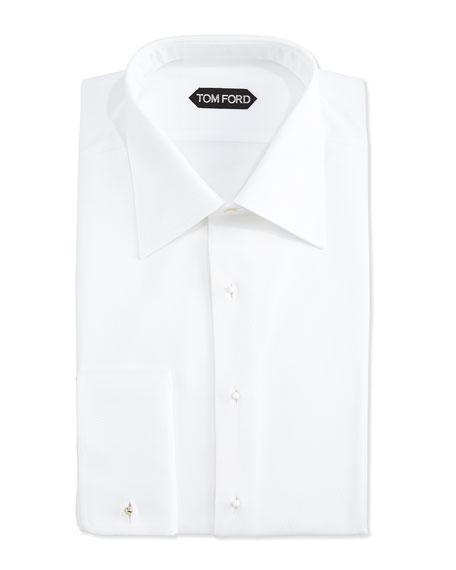TOM FORD Pique Woven Tuxedo Shirt, White