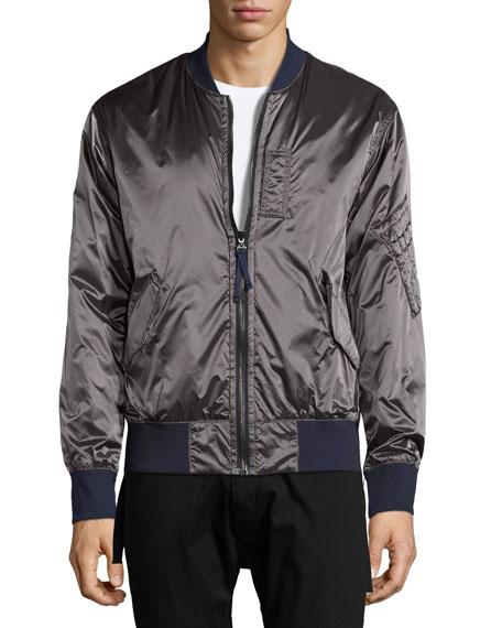 Reversible Satin Bomber Jacket, Blue/Gray