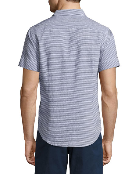 Morton Striped Seersucker Short-Sleeve Sport Shirt