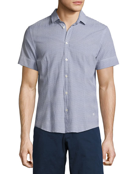 Orlebar Brown Morton Striped Seersucker Short-Sleeve Sport Shirt