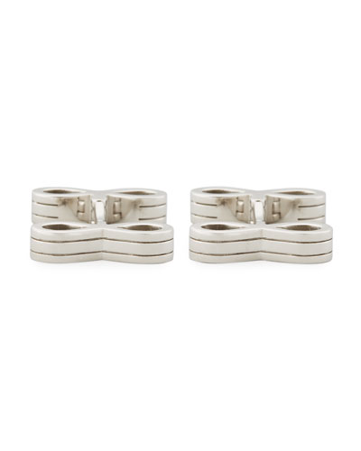 Sterling Silver Infinity Bar Cuff Links