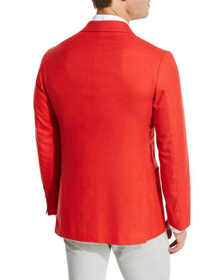 Cashmere Three-Button Blazer, Coral