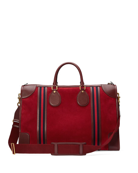 e002d951f3f6 Gucci Large Suede Duffel Bag with Web, Red