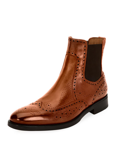 Men's Wing-Tip Brogue Leather Chelsea Boot, Cognac Brown