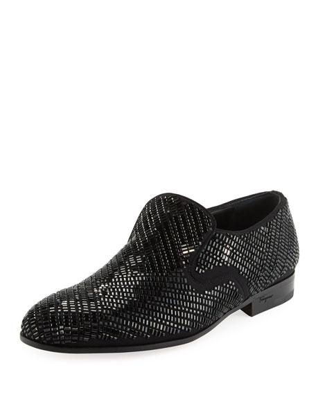 Men's Crystal-Studded Formal Loafer, Black