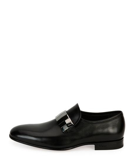 Broken-Mirror Leather Formal Loafer, Black