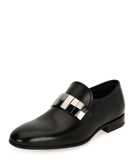 Men's Broken-Mirror Leather Formal Loafer, Black
