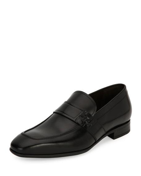 Gancini-Embossed Leather Loafer, Black (Nero)