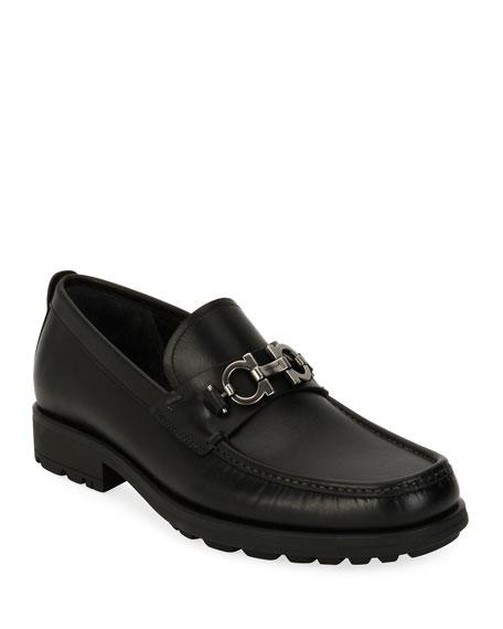 Suede Lug-Sole Loafer, Black