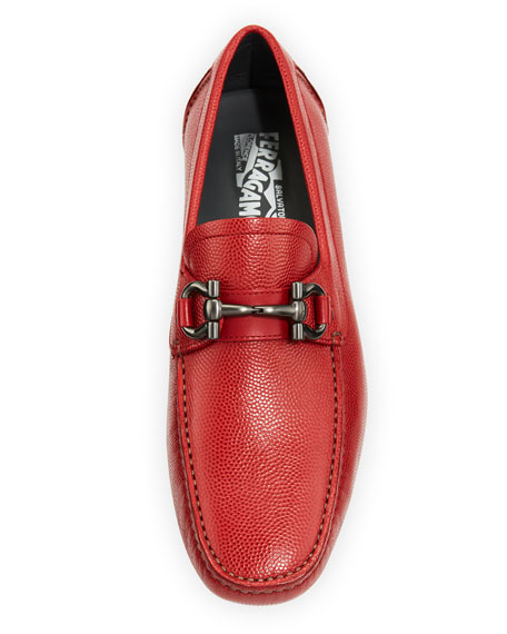 Leather Gancini Driver, Red