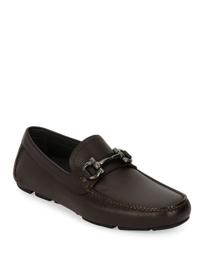 Men's Pebbled Leather Gancini Driver, Chocolate Brown