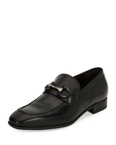 Men's Gancini-Bit Leather Loafer, Black