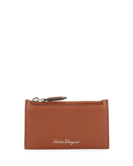 Firenze Leather Zip-Top Card Case, Brown