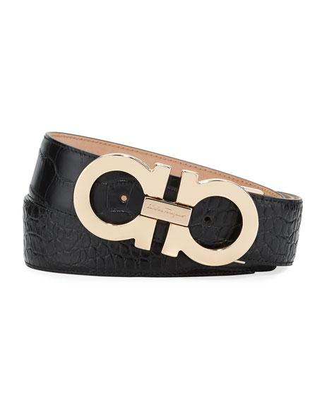 Croc-Embossed Leather Gancini-Buckle Belt, Gold/Black