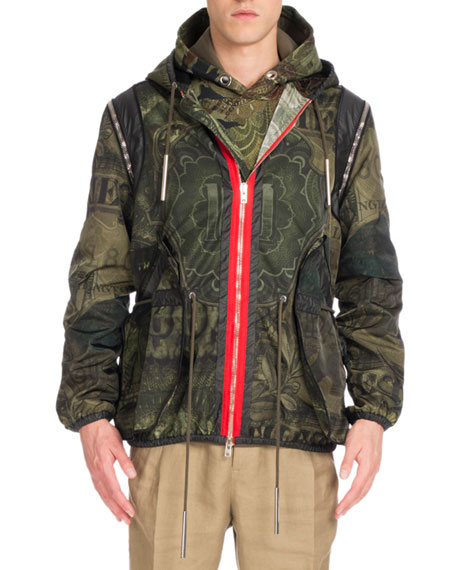 Camo Money-Print Hooded Short Parka Jacket, Khaki