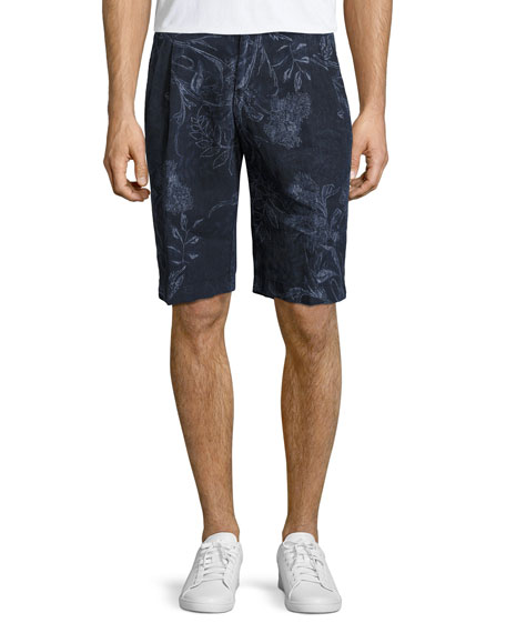 Paisley Linen Shorts, Navy