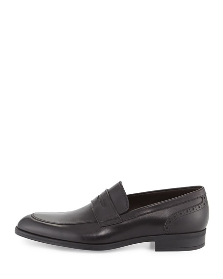 Calf Leather Penny Loafer, Black
