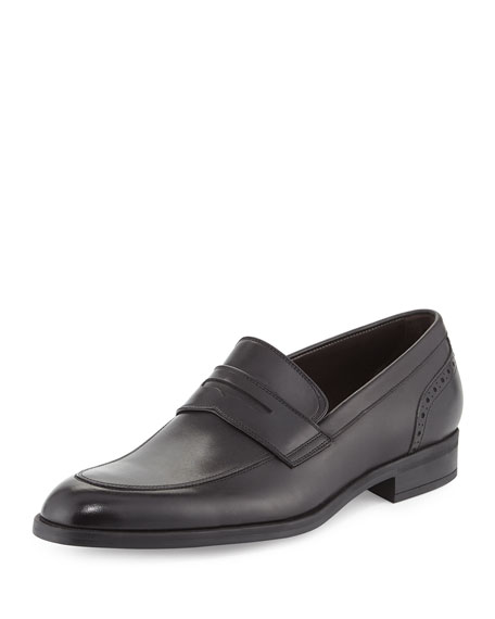 Ermenegildo Zegna Calf Leather Penny Loafer, Black