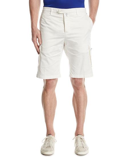 Twill Cargo Shorts, White