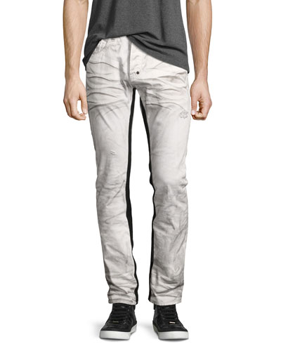 Demon Binary Slim-Straight Jeans with Tuxedo Stripe  White