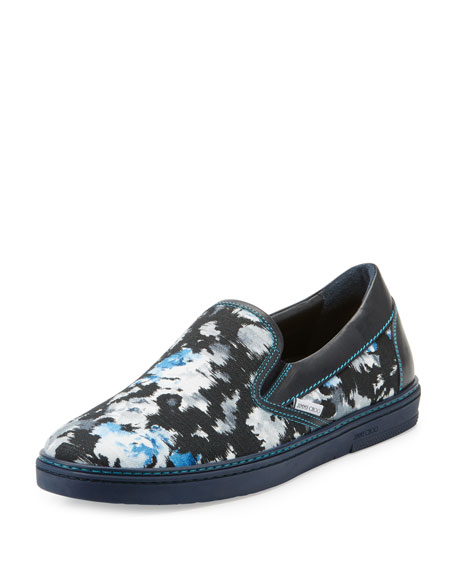 Grove Men's Floral Shantung Slip-On Sneakers, Black/Blue