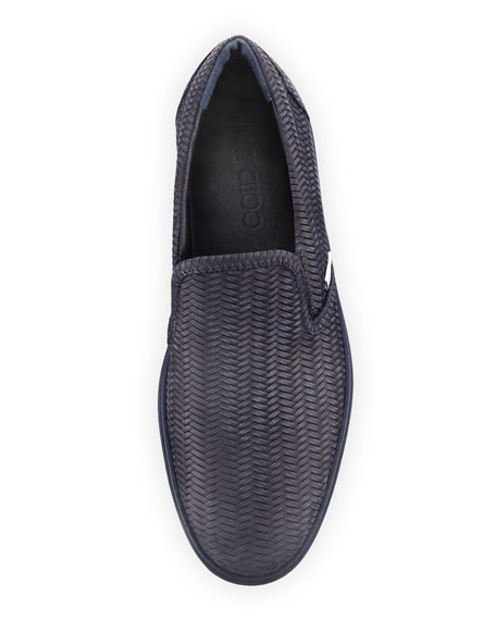 Grove Men's Woven Leather Slip-On Sneakers