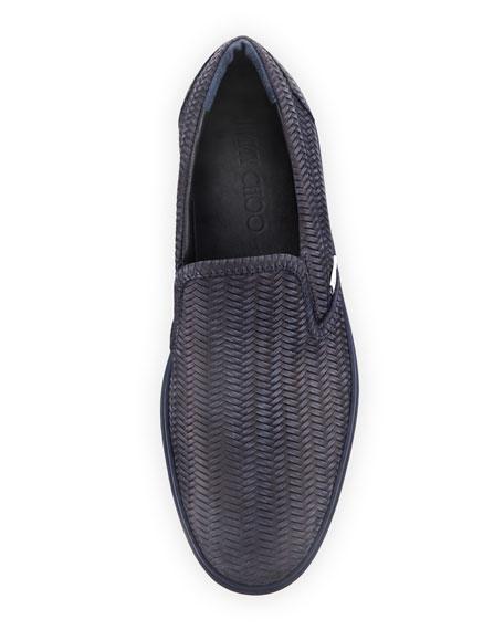 Grove Men's Woven Leather Slip-On Sneaker