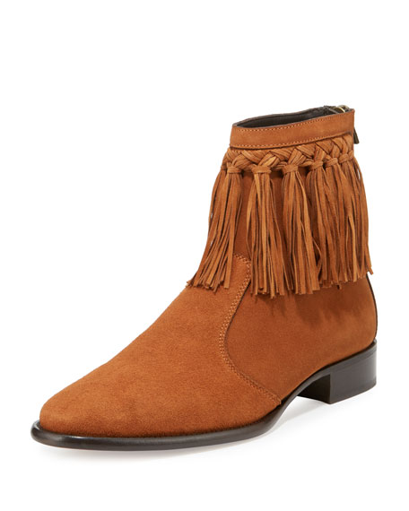 Jimmy Choo Eric Men's Dry Suede Fringe-Trim Ankle