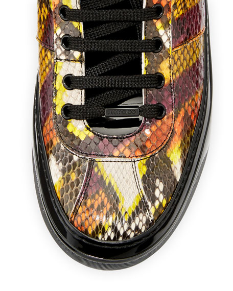 Belgravia Men's Python & Patent Leather High-Top Sneaker, Multicolor