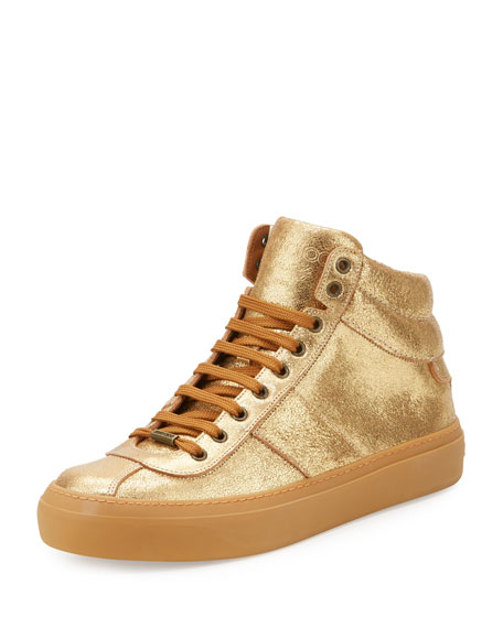 Belgravia Metallic Leather High-Top Sneaker, Gold
