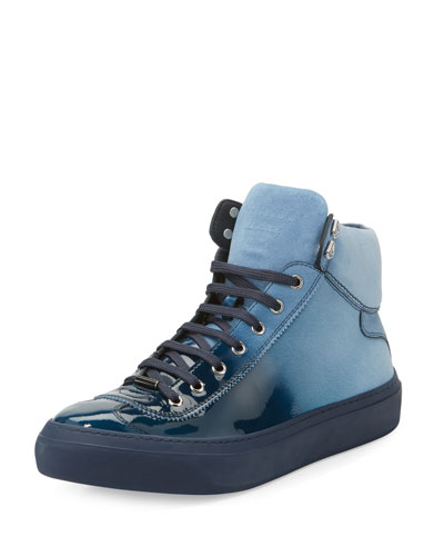 Argyle Men's Lacquered Suede Dégradé High-Top Sneaker, Blue