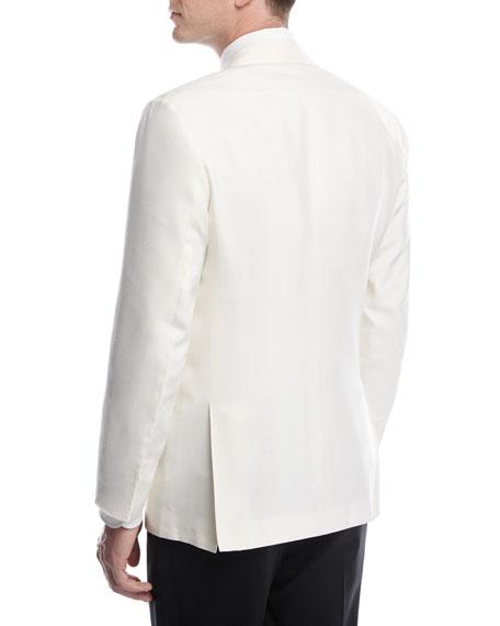 Doupioni Peak-Lapel Dinner Jacket, White