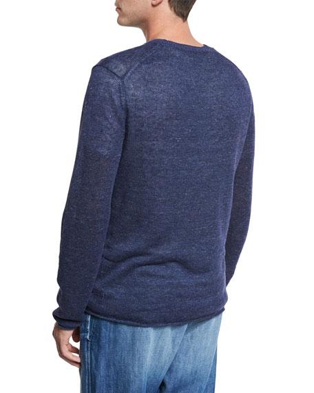 Raw-Edge Linen Crewneck Sweater