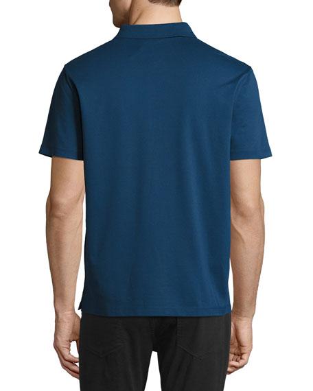 VINCE Piqué Zip Placket Slim Fit Polo Shirt