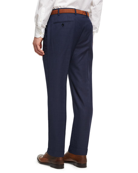 Soho Micro-Check Hopsack Wool Pants