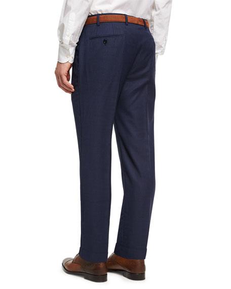 Soho Micro-Check Hopsack Wool Pants