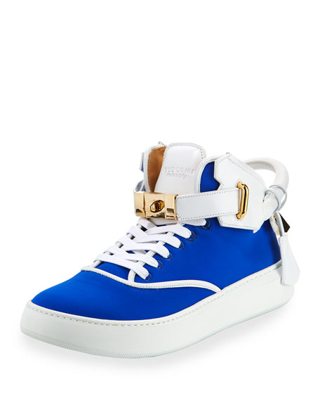 Buscemi Men's 100mm Mid-Top Sneaker, Neon Blue/White