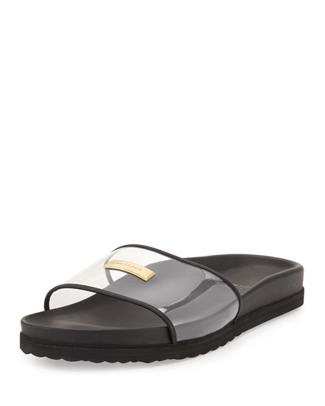 Buscemi Men's Crystal Pool Slide Sandal, Black