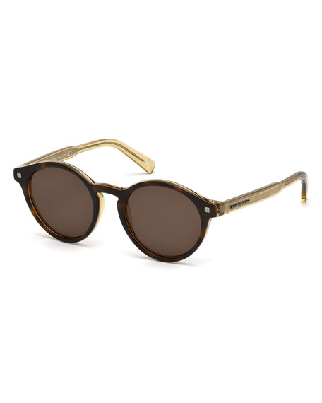 Ermenegildo Zegna Round Acetate Sunglasses with Chevron Details,