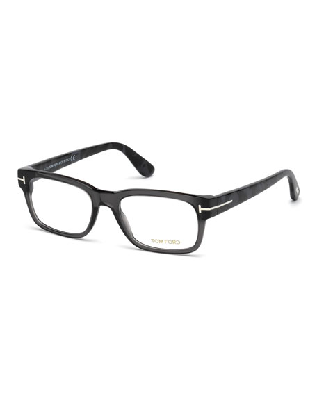 TOM FORD Rectangular Acetate Eyeglasses, Gray