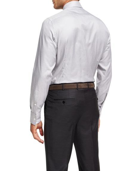 Micro-Houndstooth Cotton Dress Shirt, Gray/White