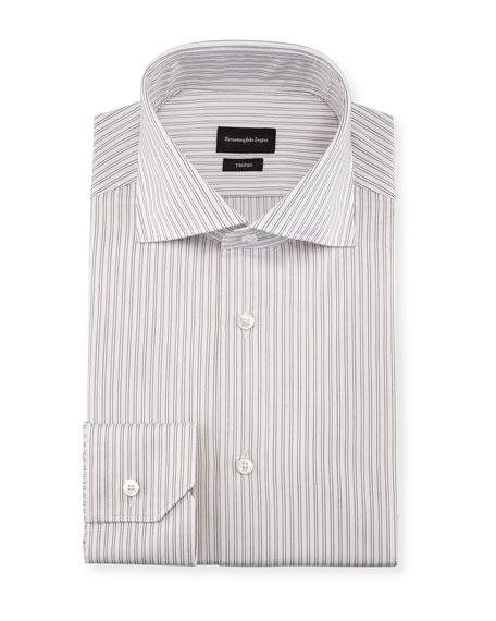 Twin-Stripe Cotton Dress Shirt, White/Burgundy