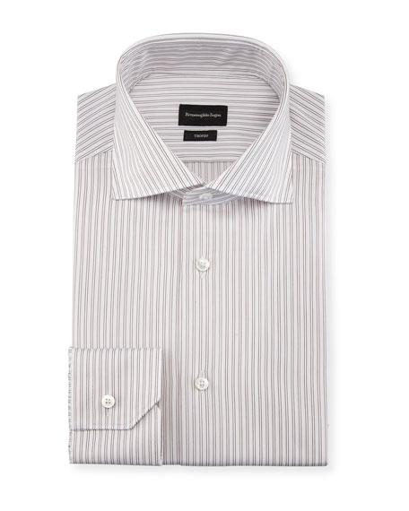 Twin-Stripe Cotton Dress Shirt, White/Burgundy