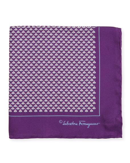 Diana Moth-Print Silk Pocket Square