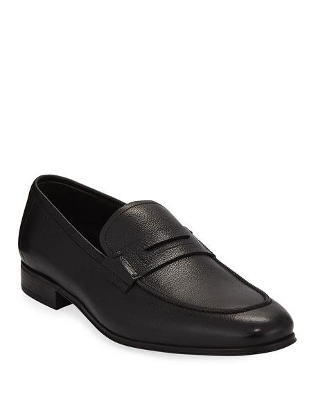 Men's Textured Calfskin Penny Loafer, Black