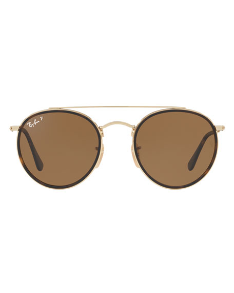 Men's RB3647 Polarized Round Double-Bridge Sunglasses, Gold/Brown Classic